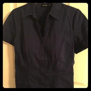 Adorable navy button-up blouse